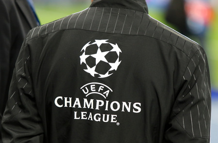 KYIV, UKRAINE - SEPTEMBER 13, 2016: Official UEFA Champions League logo on the back of referees jacket during UEFA Champions League game FC Dynamo Kyiv vs SSC Napoli at NSC Olympic stadium in Kyiv Editorial