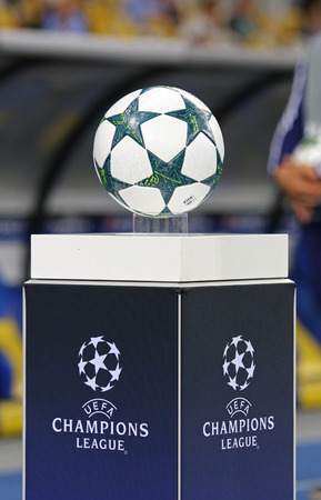 KYIV, UKRAINE - SEPTEMBER 13, 2016: Official UEFA Champions League 201617 season ball on pedestal during UEFA Champions League game FC Dynamo Kyiv vs SSC Napoli at NSC Olympic stadium in Kyiv