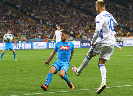 KYIV, UKRAINE - SEPTEMBER 13, 2016: Andriy Yarmolenko of FC Dynamo Kyiv (R) kicks a ball during UEFA Champions League game against SSC Napoli at NSC Olympic stadium in Kyiv, Ukraine Editorial