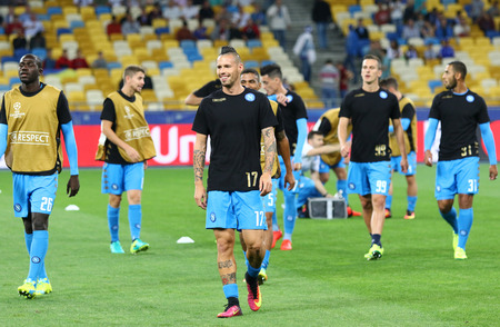 KYIV, UKRAINE - SEPTEMBER 13, 2016: SSC Napoli players during training session before UEFA Champions League game against FC Dynamo Kyiv at NSC Olympic stadium in Kyiv, Ukraine