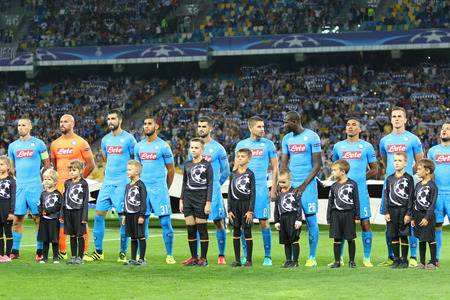 KYIV, UKRAINE - SEPTEMBER 13, 2016: SSC Napoli players listen official anthem before UEFA Champions League game against FC Dynamo Kyiv at NSC Olympic stadium in Kyiv, Ukraine