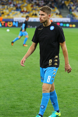 KYIV, UKRAINE - SEPTEMBER 13, 2016: Jorginho of SSC Napoli walks on during training session before UEFA Champions League game against FC Dynamo Kyiv at NSC Olympic stadium in Kyiv, Ukraine
