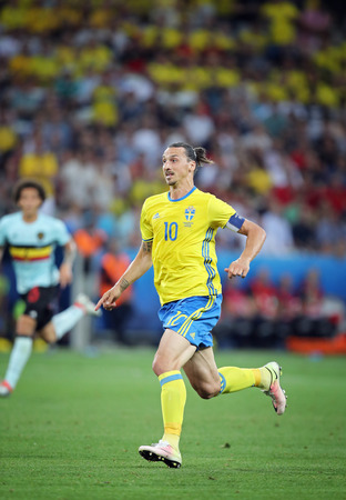 NICE, FRANCE - JUNE 22, 2016: Zlatan Ibrahimovic of Sweden in action during UEFA EURO 2016 game against Belgium at Allianz Riviera Stade de Nice, City of Nice, France Editorial