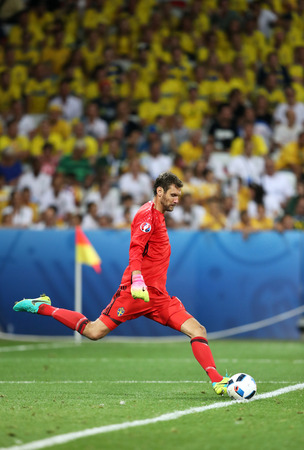NICE, FRANCE - JUNE 22, 2016: Goalkeeper Andreas Isaksson of Sweden in action during UEFA EURO 2016 game against Belgium at Allianz Riviera Stade de Nice, Nice, France