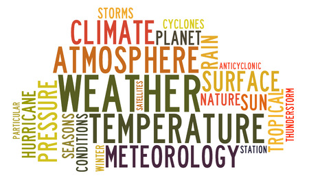 rains: Weather in word tag cloud on white background