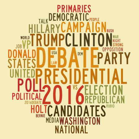 presidential: United States 2016 presidential election debates in word tag cloud on yellow background