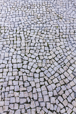 Details Of Typical Mosaic Floor On The Streets Lisbon Portugal Stock Photo