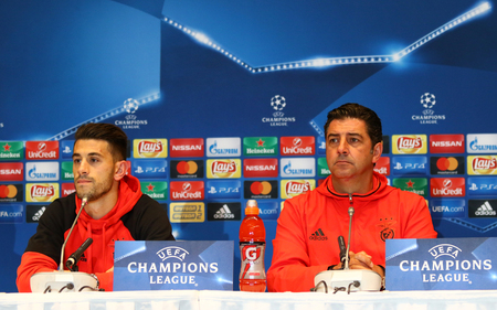 KYIV, UKRAINE - OCTOBER 18, 2016: Press-conference of SL Benfica manager Rui Vitoria and player Luis Miguel Afonso Fernandes (Pizzi) before UEFA Champions League game against FC Dynamo Kyiv