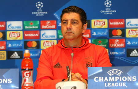 KYIV, UKRAINE - OCTOBER 18, 2016: SL Benfica manager Rui Vitoria attends press-conference before the UEFA Champions League game against FC Dynamo Kyiv at NSC Olimpiyskyi stadium in Kyiv, Ukraine