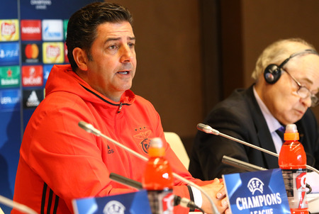 KYIV, UKRAINE - OCTOBER 18, 2016: SL Benfica manager Rui Vitoria (L) attends press-conference before the UEFA Champions League game against FC Dynamo Kyiv at NSC Olimpiyskyi stadium in Kyiv, Ukraine