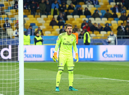 match head: KYIV, UKRAINE - OCTOBER 19, 2016: Goalkeeper Ederson of Benfica in action during UEFA Champions League game against FC Dynamo Kyiv at NSC Olimpiyskyi stadium in Kyiv, Ukraine