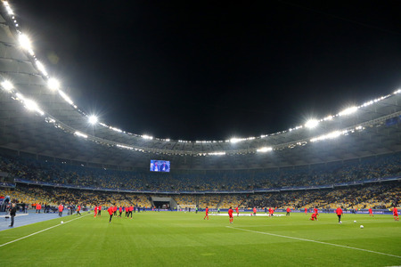 KYIV, UKRAINE - OCTOBER 19, 2016: Panoramic view of NSC Olimpiyskyi stadium in Kyiv before UEFA Champions League game between FC Dynamo Kyiv and SL Benfica Editorial