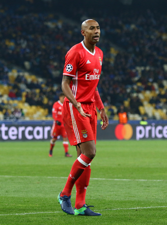 KYIV, UKRAINE - OCTOBER 19, 2016: Portrait of Luisao of SL Benfica during UEFA Champions League game against FC Dynamo Kyiv at NSC Olimpiyskyi stadium in Kyiv, Ukraine