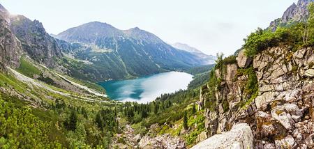oko: Panoramic view of Morskie Oko lake, High Tatras Mountains, Poland
