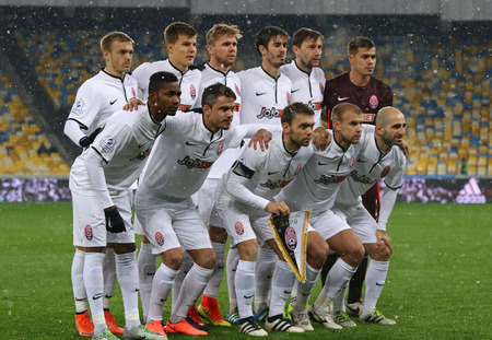 forster: KYIV, UKRAINE - OCTOBER 26, 2016: Zorya Luhansk players pose for a group photo before the Cup of Ukraine Round of 16 game against FC Dynamo Kyiv at NSC Olimpiyskyi stadium in Kyiv, Ukraine Editorial