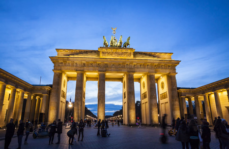 Brandenburg Gate (Brandenburger Tor) in evening. Berlin, Germany. Brandenburg Gate built between 1788 and 1791 and now is the most famous and well-known landmarks of Germany