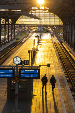 LUBECK, GERMANY - NOVEMBER 7, 2013: Lubeck Hbf railway station. Is the main railway station of Hanseatic city of Lubeck (Schleswig-Holstein state),opened at 1908 and serving about 31000 visitors daily