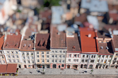 rynek: Market Square in a center of Lviv city, Ukraine. View from Lviv City Hall Tower. Tilt-shift Miniature Effect