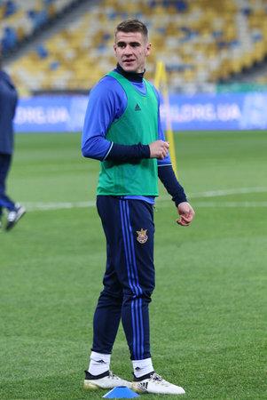 KYIV, UKRAINE - NOVEMBER 8, 2016: Portrait of Ukraine National Football Team player Artem Besedin during Open Training Session at NSC Olimpiyskyi stadium in Kyiv, Ukraine Editorial