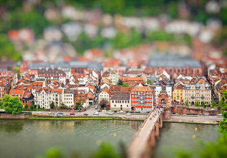 Aerial view of Heidelberg old town and Neckar river, Baden-Wurttemberg state, Germany. Tilt-shift Miniature Effect