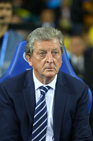KYIV, UKRAINE - SEPTEMBER 10, 2013: England National football team manager Roy Hodgson looks on during FIFA World Cup 2014 qualifier game against Ukraine at NSC Olympic stadium in Kyiv