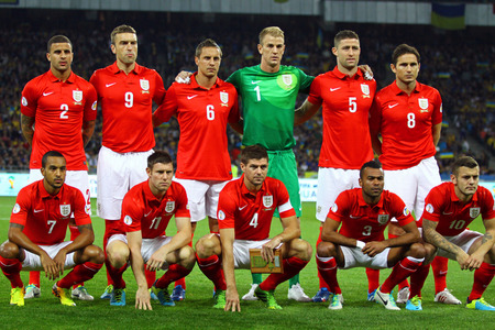 striker: KYIV, UKRAINE - SEPTEMBER 10, 2013: Players of England National football team pose for a group photo before FIFA World Cup 2014 qualifier game against Ukraine at NSC Olympic stadium in Kyiv Editorial