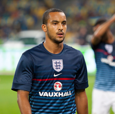 KYIV, UKRAINE - SEPTEMBER 10, 2013: Theo Walcott of England walks on during training session before FIFA World Cup 2014 qualifier game against Ukraine at NSC Olympic stadium in Kyiv Editorial