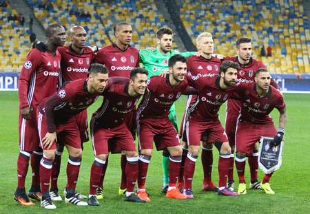 KYIV, UKRAINE - DECEMBER 6, 2016: Besiktas players pose for a group photo before UEFA Champions League game against FC Dynamo Kyiv at NSC Olimpiyskyi stadium in Kyiv, Ukraine Editorial