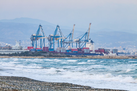 LIMASSOL, CYPRUS - JANUARY 17, 2015: Industrial view of Sea port of Limassol, Cyprus. The port is the largest and busiest harbour on the island