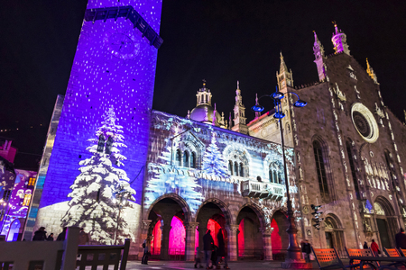 como italy december 2 2016 festive christmas decorations lights on facades of