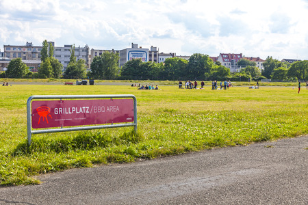 feld: BERLIN, GERMANY - JUNE 27, 2014: Berlin Tempelhof, former airport in Berlin city, Germany. Ceased operations in 2008 and now used as a recreational space known as Tempelhofer Feld