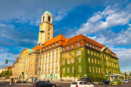 spandau: BERLIN, GERMANY - JULY 3, 2014: Building of Berlin-Spandau Town Hall (Rathaus Spandau). It is the town hall of the borough of Spandau in the western suburbs of Berlin, Germany Editorial