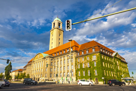 BERLIN, GERMANY - JULY 3, 2014: Building of Berlin-Spandau Town Hall (Rathaus Spandau). It is the town hall of the borough of Spandau in the western suburbs of Berlin, Germany Editorial