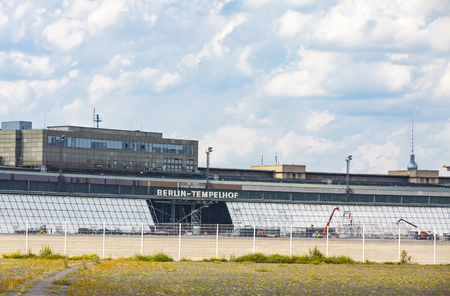 feld: Berlin Tempelhof, former airport in Berlin city, Germany. Ceased operations in 2008 and now used as a recreational space known as Tempelhofer Feld