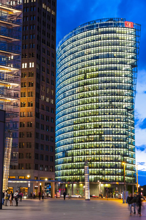 BERLIN, GERMANY - JULY 1, 2014: The Bahntower, a 26-story, 103 m skyscraper on Potsdamer Platz in Berlin, Germany. Headquarters of Deutsche Bahn AG. It is the sixth-tallest building in Berlin
