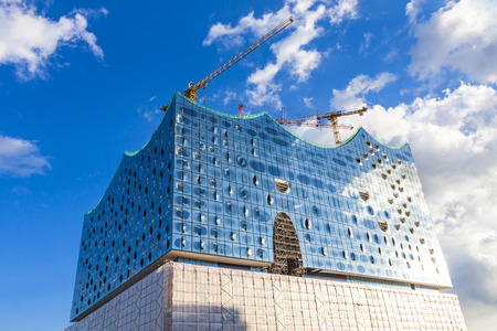 The Elbphilharmonie, concert hall in the port of Hamburg. The tallest inhabited building of Hamburg, with a height of 110 metres. Announced opening date is 11 Jan 2017 Editorial
