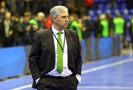 KYIV, UKRAINE - JANUARY 29, 2017: Head Coach of Spain National Team Jose Venancio Lopez Hierro looks on during friendly Futsal match against Ukraine at Palats of Sports in Kyiv, Ukraine Editorial