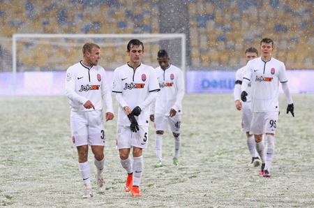 KYIV, UKRAINE - OCTOBER 26, 2016: FC Zorya Luhansk players thank fans after the Cup of Ukraine Round of 16 game against FC Dynamo Kyiv at NSC Olimpiyskyi stadium in Kyiv, Ukraine Editorial