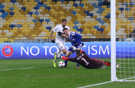KYIV, UKRAINE - OCTOBER 26, 2016: Viktor Tsygankov of FC Dynamo Kyiv (in Blue) scores a goal during the Cup of Ukraine Round of 16 game against Zorya Luhansk at NSC Olimpiyskyi stadium in Kyiv