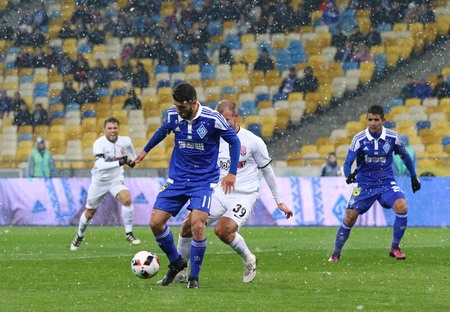 KYIV, UKRAINE - OCTOBER 26, 2016: Junior Moraes of FC Dynamo Kyiv (#11) controls a ball during Cup of Ukraine game against Zorya Luhansk at NSC Olimpiyskyi stadium in Kyiv
