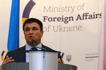 foreign secretary: KYIV, UKRAINE - MARCH 1, 2017: Foreign Minister of Ukraine Pavlo Klimkin takes a speech during Joint press conference of Foreign Ministers of Ukraine, Great Britain and Poland Editorial