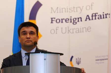 boris: KYIV, UKRAINE - MARCH 1, 2017: Foreign Minister of Ukraine Pavlo Klimkin looks on a speech during Joint press conference of Foreign Ministers of Ukraine, Great Britain and Poland Editorial