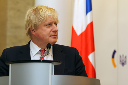 KYIV, UKRAINE - MARCH 1, 2017: Boris Johnson, Secretary of State for Foreign Affairs of UK, looks on during Joint press conference of Foreign Ministers of Ukraine, UK and Poland