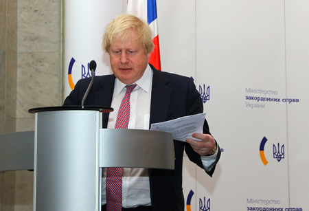 foreign secretary: KYIV, UKRAINE - MARCH 1, 2017: Boris Johnson, Secretary of State for Foreign Affairs of UK, looks on during Joint press conference of Foreign Ministers of Ukraine, UK and Poland