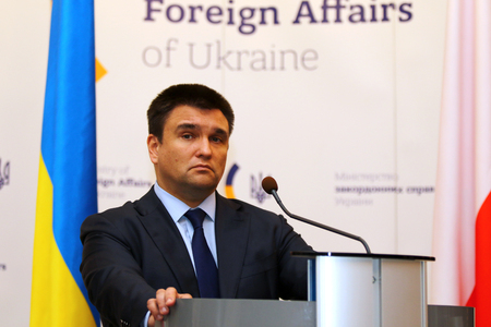 foreign secretary: KYIV, UKRAINE - MARCH 1, 2017: Foreign Minister of Ukraine Pavlo Klimkin looks on a speech during Joint press conference of Foreign Ministers of Ukraine, Great Britain and Poland Editorial