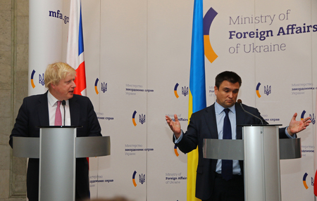 conservative: KYIV, UKRAINE - MARCH 1, 2017: Secretary of State for Foreign and Commonwealth Affairs of Nations of UK Boris Johnson (L) and Foreign Minister of Ukraine Pavlo Klimkin during joint press conference