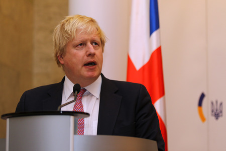 foreign secretary: KYIV, UKRAINE - MARCH 1, 2017: Boris Johnson, Secretary of State for Foreign Affairs of UK, takes a speech during Joint press conference of Foreign Ministers of Ukraine, UK and Poland