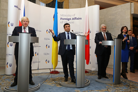 conservative: KYIV, UKRAINE - MARCH 1, 2017: Secretary of State for Foreign Affairs of UK Boris Johnson (L), Foreign Minister of Ukraine P.Klimkin (C) and Foreign Minister of Poland W.Waschykovskyi in Kyiv