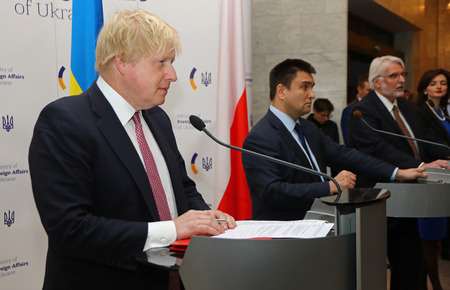 boris: KYIV, UKRAINE - MARCH 1, 2017: Secretary of State for Foreign Affairs of UK Boris Johnson (L), Foreign Minister of Ukraine P.Klimkin (C) and Foreign Minister of Poland W.Waschykovskyi in Kyiv