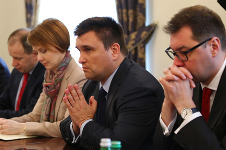 foreign secretary: KYIV, UKRAINE - MARCH 1, 2017: Foreign Minister of Ukraine Pavlo Klimkin (C) takes a speech during Joint press conference of Foreign Ministers of Ukraine, Great Britain and Poland